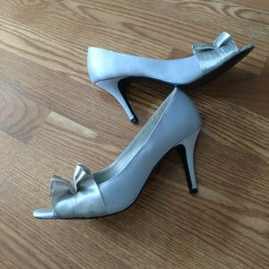 Silver Peep-Toe Pumps
